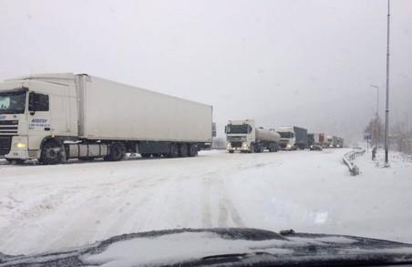Поблизу Стрия у заторі стоять вантажівки