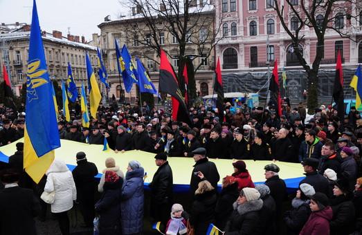 З нагоди Дня соборності у Львові провели віче (ФОТО)