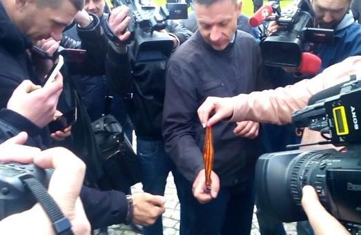 У Львові спалили георгіївську стрічку