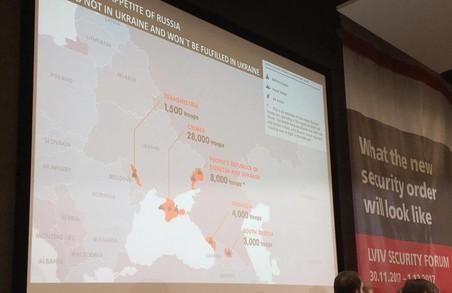 Безпековий форум проілюстрував ОРДЛО картами з надписом «Народні республіки»