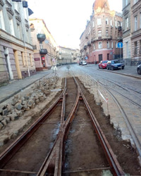 У Львові ремонтують трамвайні колії на площі Івана Франка