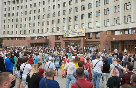 У Івано-Франківську протестували проти «червоної» карантинної зони, в яку потрапило місто
