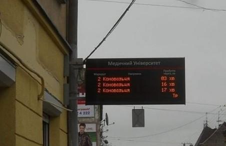 У Львові на зупинках електротранспорту з'явиться іще 12 інформаційних табло
