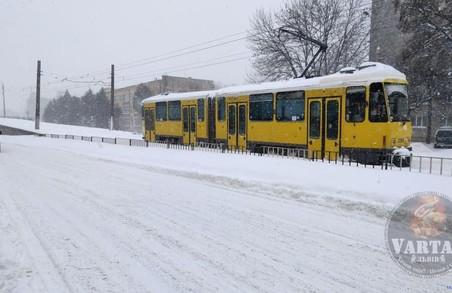 На вулиці Княгині Ольги у Львові зупинилися трамваї